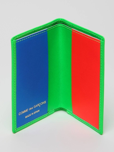 COMME des GARCONS Super Fluo Card Wallet in green leather at oki ni