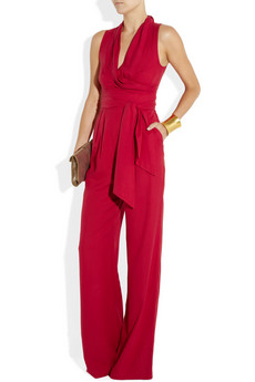 Catherine Malandrino Belted washed silk jumpsuit NET A PORTER COM