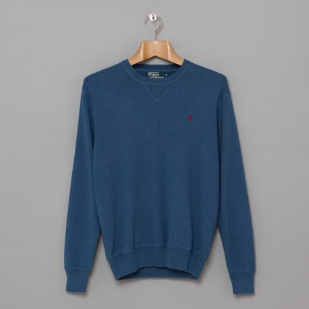 Knitted Crew Sweat Blue Heather Oi Polloi
