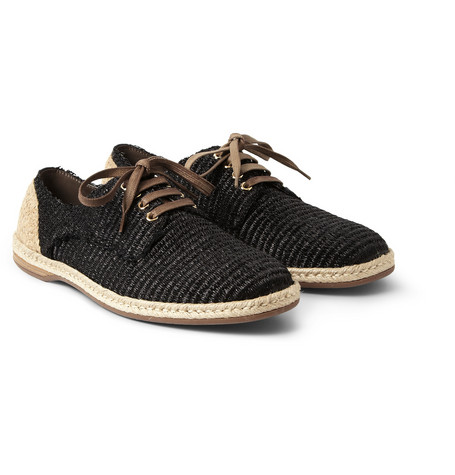 Dolce Gabbana Woven Raffia Effect Espadrille Derby Shoes Mr Porter