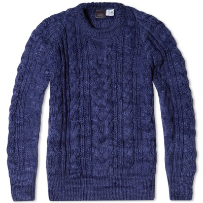 Chamula Fisherman Pullover Knit Navy Heather