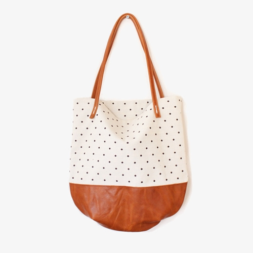 White Dotty Tote Poketo