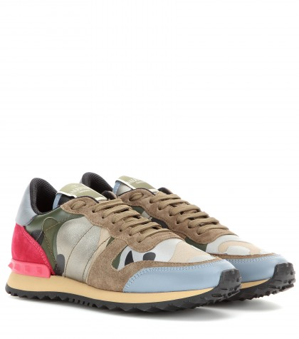 Rockstud Suede And Leather Sneakers Valentino Mytheresa
