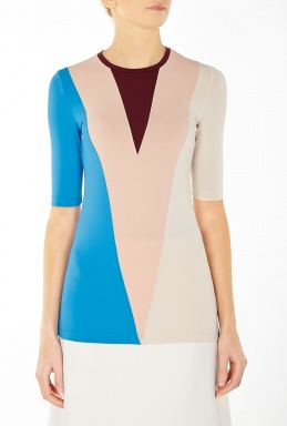Victoria Beckham Denim Marching Colour Blocked Top By Victoria Beckham Denim