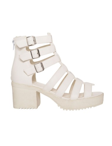 White Gladiator Sandals Cut Out Boots Strappy Sandals