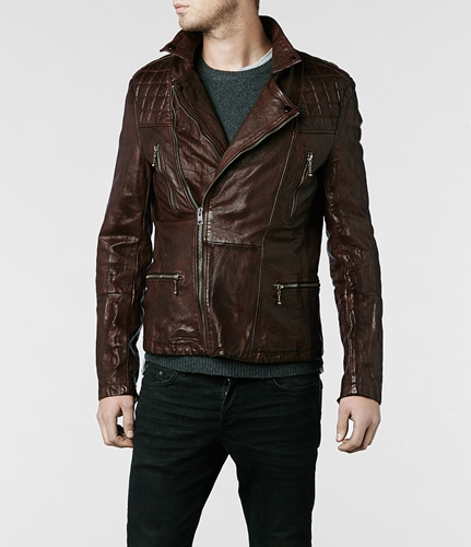 Allsaints Callerton Leather Biker Jacket Mens Leather Jackets