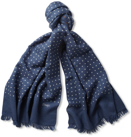 Drake's Spot Print Wool And Silk Blend Scarf Mr Porter