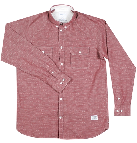 Norse Projects Benno Chambray Shirt In Russet Red Huh. Store