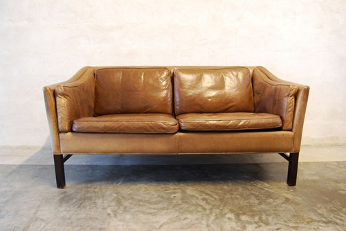 Two Seat Leather Sofa With Scalloped Back Chase And Nuji