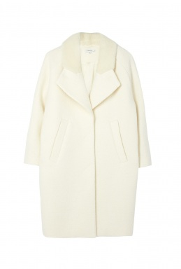 Carven Cream Curly Wool Gathered Back Coat By Carven Rtw Pre