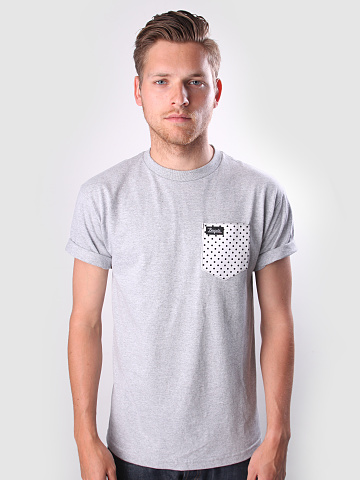 Borgata DC Polka Dot Pocket Tee Grey FreshCotton com