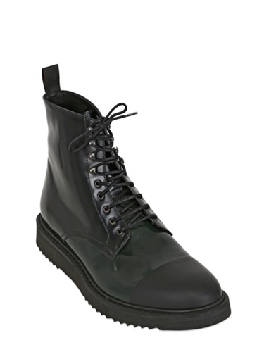 Neroh Brushed Leather Rubber Lace Up Boots Luisaviaroma Luxury Shopping Worldwide Shipping Florence