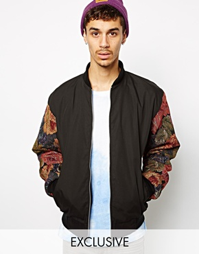 Reclaimed Vintage Reclaimed Vintage Bomber Jacket With Tapestry Sleeves At Asos