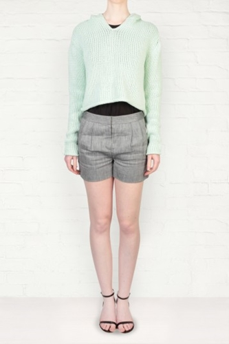 T By Alexander Wang Mint Green Cropped Hooded Sweater