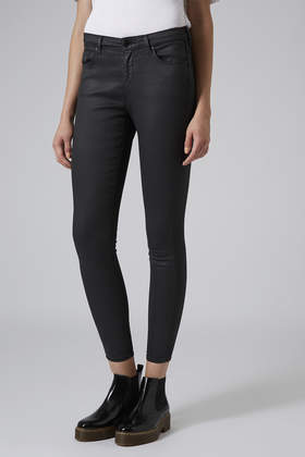 Moto Black Coated Leigh Jeans Topshop Usa