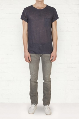 Buy Mens Acne Granville Linen Navy T Shirt Start London