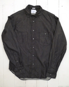 Black Chambray Double Pocket Shirt by Merchants And Missionaries available to buy at The Bureau Belfast