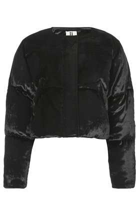 Velvet Cropped Puffa Jacket By Unique Topshop