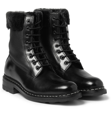 Heschung Zermat Shearling Lined Leather Lace Up Boots Mr Porter