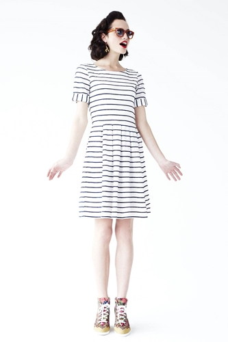 Scalloped Stripes Dress Anthropologie com