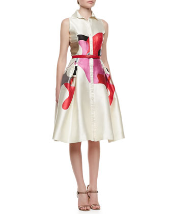 Carolina Herrera Sleeveless A Line Shirtdress Ivory Multi