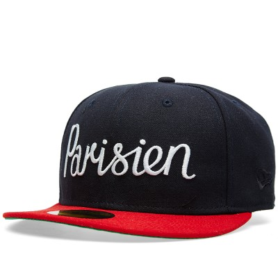 Maison Kitsune Parisien New Era Cap Navy Red