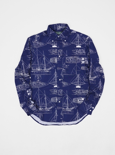 Gitman Vintage Nautical Shirt Navy Present London