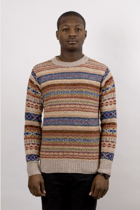 William Fox Sons Fairisle Reverse Jumper Cream Blue Ideology Boutique