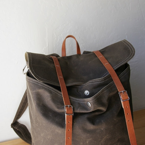 Waxed Canvas Backpack Rucksack Leather Straps By Infusion