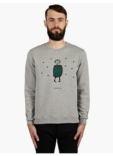 Men's Grey Barrel Motif Sweatshirt