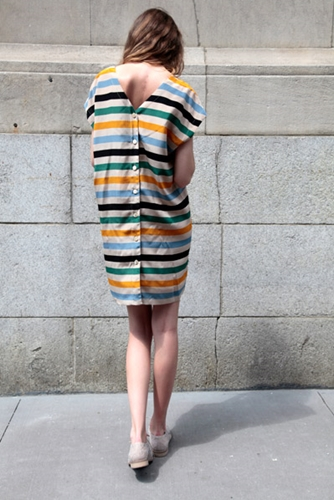 No 6 Striped Button Back Dress No 6 Daily