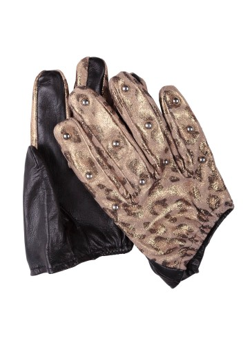 Shiny Panther And Studs Short Gloves Accessories