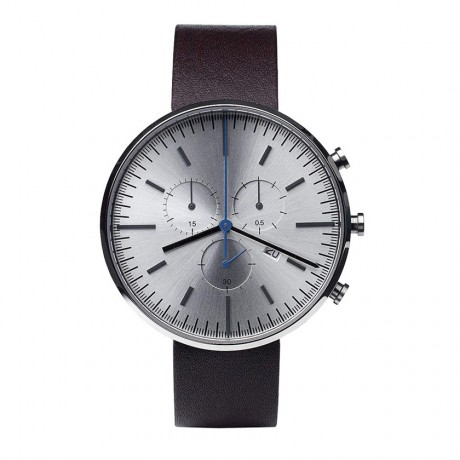 Uniform Wares 302 Series Brushed Steel Mahogany Leather Chronograph Watch