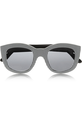 Le Specs Runaways Striped Square Frame Acetate Sunglasses Net A Porter.Com