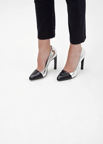 Totokaelo Dries Van Noten Black And Silver Metallic Python Pump