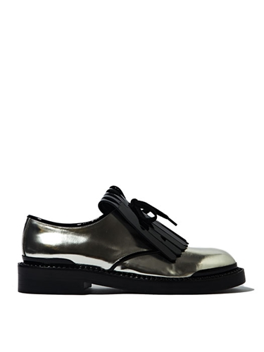 Marni Women's Domesticated Calf Leather Fringed Lace Up Shoes Ln Cc
