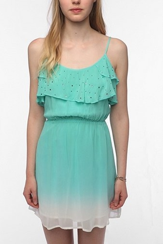 Chandi Lia Silky Ruffled Ombre Dress Urban Outfitters