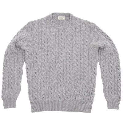 Maison Kitsune Cable Crew Neck Sweater Light Grey