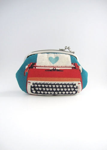 Frame Purse typewriter on teal side lock pouch by thezakka on Etsy