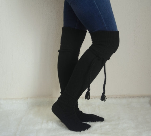 Black Over The Knee Slouch Socks Leg Warmers Tassel By Bstyle