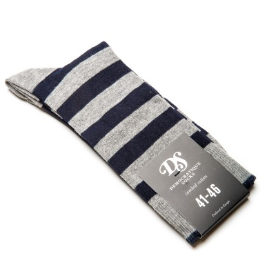Democratique Socks Originals Striper In Grey Navy Atoo.Co.Uk