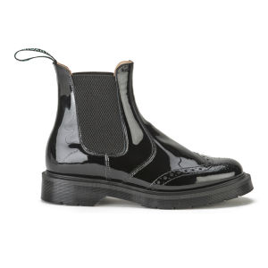 Ymc Women's Solovair Patent Leather Brogue Chelsea Boots Black Clothing Free Uk Delivery Over 50