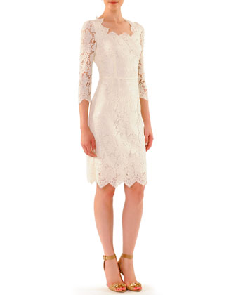 Dolce Gabbana Scalloped Lace Elbow Sleeve Dress Neiman Marcus