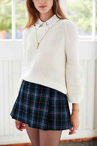 Ecote Plaid Inverted Pleat Mini Skirt Urban Outfitters