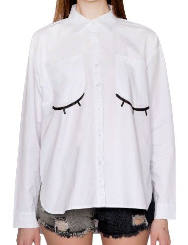 Eye Motif White Boyfriend Shirt Oversized White Shirt 42