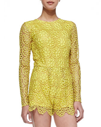 Alexis Izu Long Sleeve Floral Lace Short Jumpsuit
