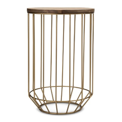 Threshold Gold Wire And Wood Accent Table