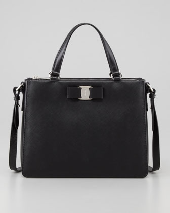 Salvatore Ferragamo Tracy Saffiano Tote Bag With Vara Bow Black Neiman Marcus
