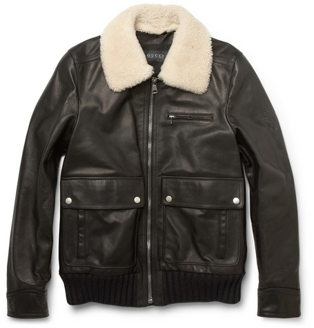 Gucci Shearling Collar Leather Bomber Jacket MR PORTER