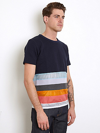 Christopher Shannon Men s Panelled T Shirt in navy multi at oki ni